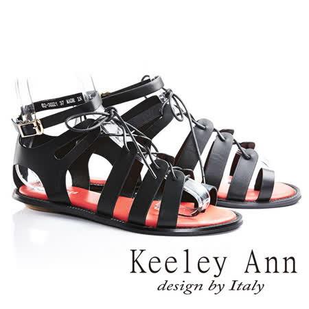 Keeley Ann視覺饗宴綁帶真皮平底羅馬涼鞋(黑色623692110)-Ann系列