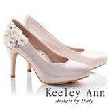 Keeley Ann甜美新娘花飾閃鑽真皮軟墊高跟鞋(粉紅色635158356)