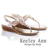 Keeley Ann艷麗寶石鑽飾真皮T型平底涼鞋(粉紅色632118156)