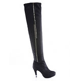 Keeley Ann 獨特魅力-前衛鑲珠造型過膝長靴(黑色489713110)