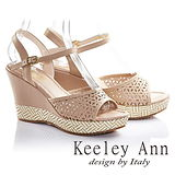 Keeley Ann美型雕花鏤空編織真皮楔形涼鞋(杏色632223206)