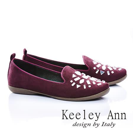 Keeley Ann 素雅舒適-壓克力寶石造型平底樂福鞋(酒紅色465006157-ANGEL系列)