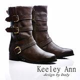 Keeley Ann 百搭帥氣~全真皮腳背釦環機車短靴(咖啡)【ANGEL系列-468136170】