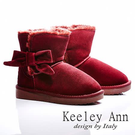 Keeley Ann 獨家設計 ~ 俏麗蝴蝶結保暖真皮雪靴(紅)【ANGEL系列-467136150】
