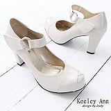 Keeley Ann復古好萊塢~漆皮瑪莉珍高跟鞋(米)
