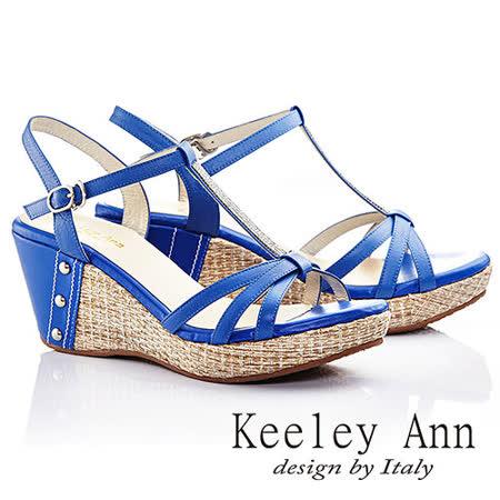 Keeley Ann 簡約搭配~簡單鑲鑽裸膚厚底涼鞋(寶藍色)532183160