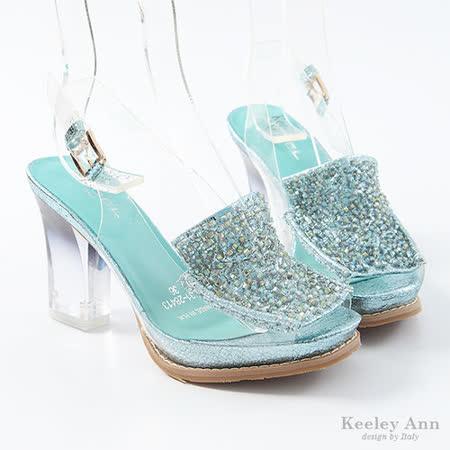 Keeley Ann 透明時尚~質感金蔥水晶底高跟涼鞋(藍)【312841360】
