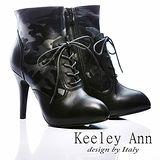 Keeley Ann 男孩風 ~ 全真皮迷彩綁帶時髦高跟軍靴(黑)【ANGEL系列467931210】