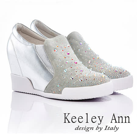Keeley Ann  樂活主義 ~ 彈性帶Biling Biling內增高休閒鞋(銀)【416821127 - ANGEL系列】