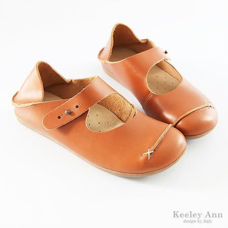 Keeley Ann柔軟Q休閒 ~ 繫帶牛皮饅頭鞋(棕)