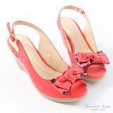 Keeley Ann 真羊皮可愛圓點蝴蝶結楔型涼鞋(西瓜紅)【322042159】