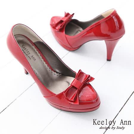 Keeley Ann甜美名品~經典蝴蝶結菱格紋漆皮高跟鞋(紅)