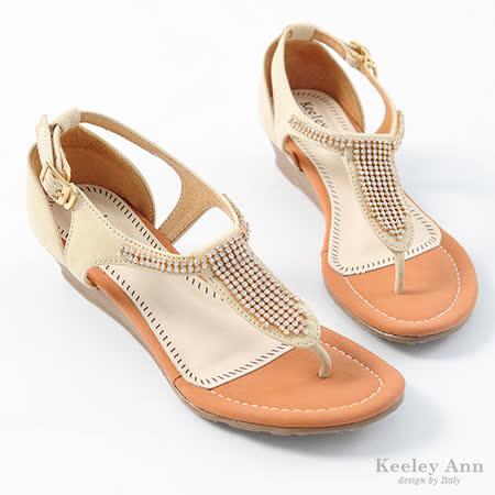 Keeley Ann 排鑽全真皮T字低跟涼鞋(米)【332228130】