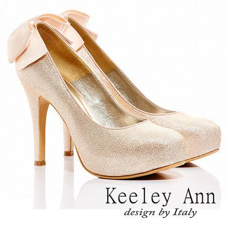 Keeley Ann  浪漫新娘 ~  後緞帶蝴蝶結金蔥高跟鞋(亮粉)【ANGEL系列415156154】