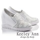 Keeley Ann俏皮韓妞珠光花朵滿鑽真皮內增高休閒鞋(白色686823440)