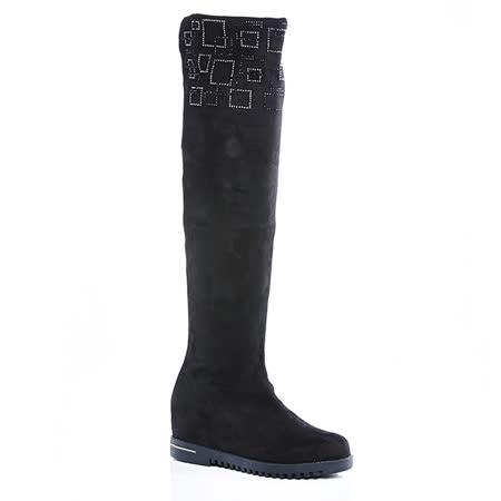 Keeley Ann大方氣質-方形金鑲邊造型過膝長靴(黑色489638210)