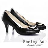 Keeley Ann 唯美好感~大方金屬環扣全真皮舒適軟墊高跟鞋(黑色585258110)