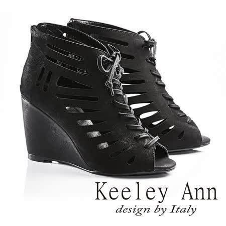 Keeley Ann帥氣魚骨綁帶真皮高跟魚口踝靴(黑色623532110)-Ann系列