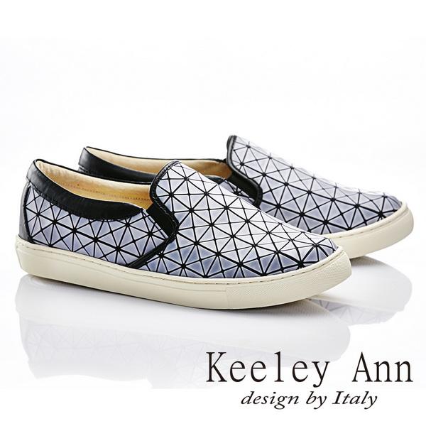 Keeley Ann 率性 ^~方格簡約條紋舒適軟墊休閒鞋^(白色586028140^)