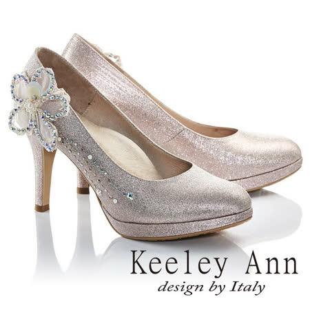 Keeley Ann幸福女人珍珠鑽飾立體花朵新娘高跟鞋(淺粉色685158258)