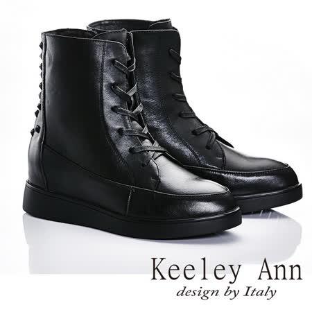 Keeley Ann  衝擊世代~鉚釘機車拉鍊綁帶造型真皮內增高短靴(黑色587158410)