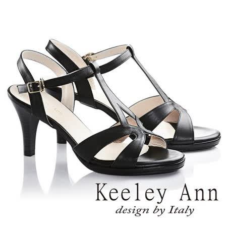 Keeley Ann名媛氣質款全真皮高跟涼鞋(黑色632223110)