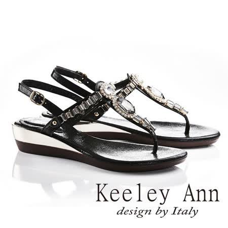 Keeley Ann艷夏滿鑽方塊寶石後繫帶T形夾腳涼拖鞋(黑色632008410)