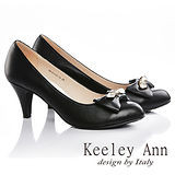 Keeley Ann 氣質素雅-鑲鑽蝴蝶結全真皮中跟鞋(黑色585113310)