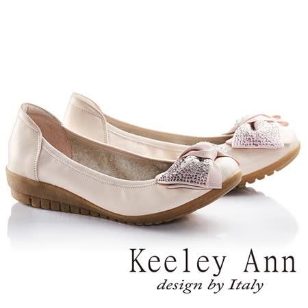 Keeley Ann閃耀蝴蝶結鑽飾OL真皮平底娃娃鞋(粉紅色635348256)