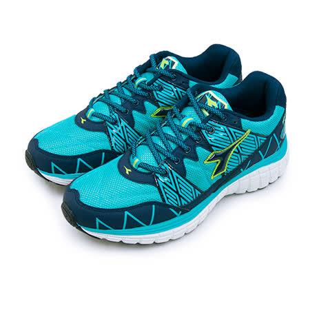 【男】DIADORA 全地形專業慢跑鞋 KEEP ON 烈速飛奔系列 藍黑綠 2936