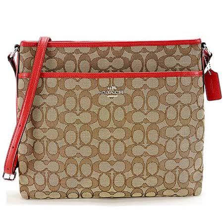 COACH 馬車 LOGO織布方型斜背包(卡其紅)