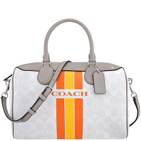 COACH 大C條紋PVC波士頓包/大型-白色