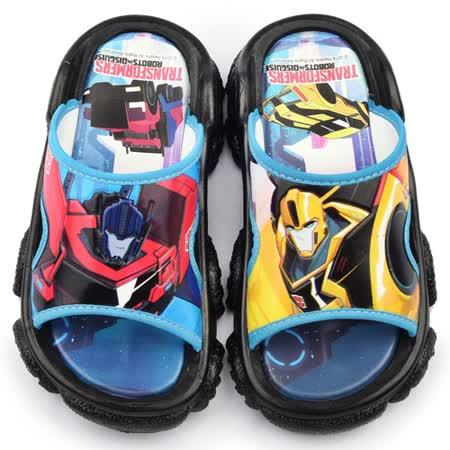 童鞋城堡-變形金剛 中大童 不對稱設計戶外拖鞋TF10089-黑