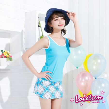 【夏之戀LOVETEEN】大女斜紋格三件式泳裝(N15703)