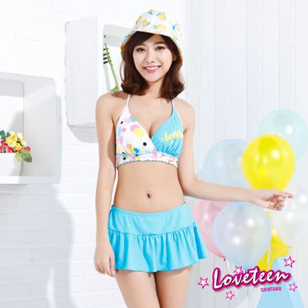 【夏之戀LOVETEEN】甜美風點點印花比基尼二件式連褲裙(N15704)