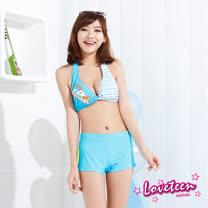 【夏之戀LOVETEEN】條紋數字比基尼三件式泳衣(N15710)