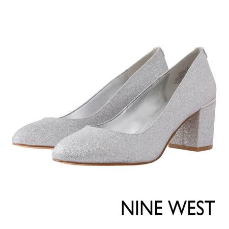 NINE WEST--閃耀亮片微尖頭高跟鞋--極光銀