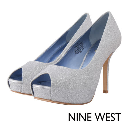 NINE WEST--魚口防水台高跟鞋--極光銀