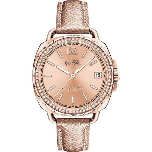 COACH Boyfriend 時尚晶鑽腕錶-玫塊金/34mm 14502629