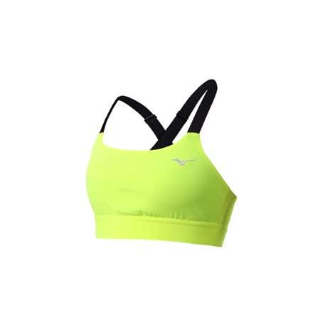 (女) MIZUNO 運動內衣-慢跑 路跑 運動背心 健身 美津濃 螢光黃黑