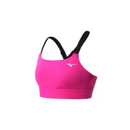 (女) MIZUNO 運動內衣-慢跑 路跑 運動背心 健身 美津濃 桃紅黑
