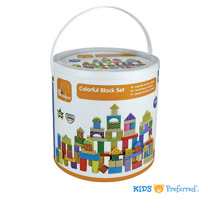 美國 KIDS PREFERRED 彩色益智積木組 (100塊裝)