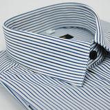 【金安德森】藍白條紋黑釦窄版長袖襯衫