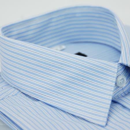 【金安德森】藍底黑點條紋窄版長袖襯衫