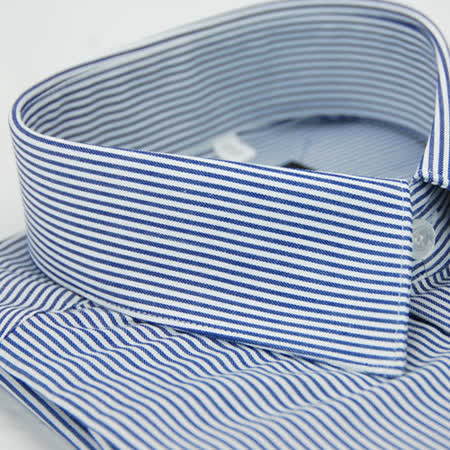 【金安德森】深藍色條紋窄版長袖襯衫