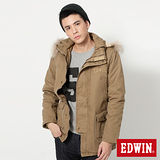 EDWIN 雙襟長版舖棉 防寒外套-男-卡其色