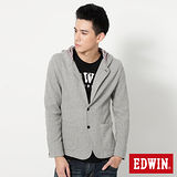 EDWIN休閒連帽 棉質西裝外套-男款 麻灰色