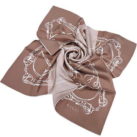 GUCCI 駿馬圖樣造型絲巾-淺藕色