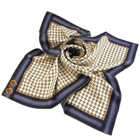 GUCCI 千鳥紋圖樣造型絲巾-咖啡色