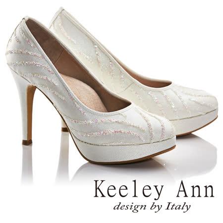 Keeley Ann素雅新娘晚宴真皮軟墊高跟鞋(白色675157240-Ann系列)